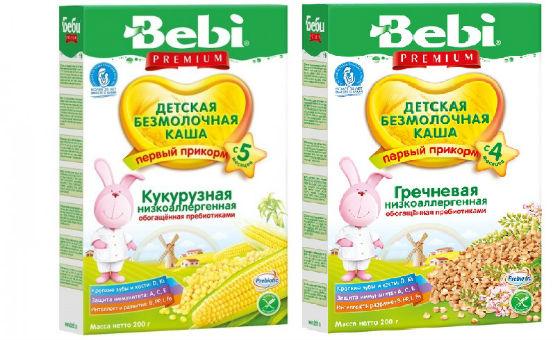 Рисовая и кукурузная каши Bebi без содержания молока