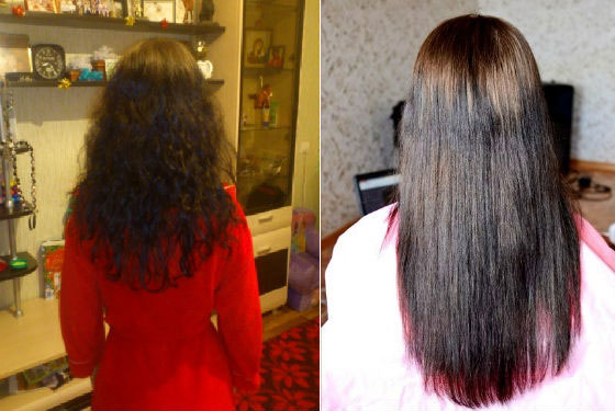 Результат химического выпрямления волос