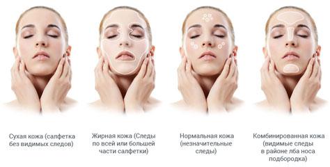 Определение типа кожи с помощью салфетки
