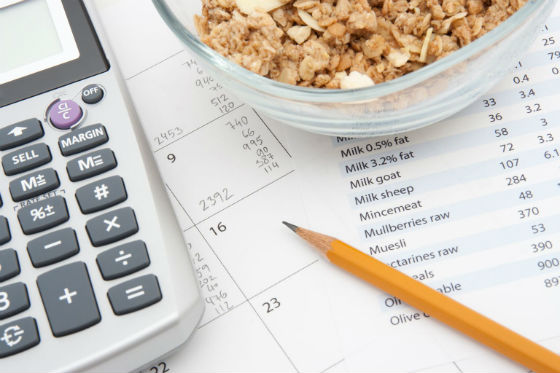 Калькулятор и карандаш для подсчета калорий