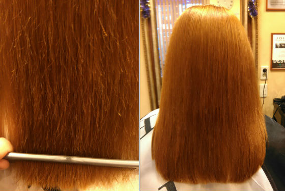 До и после процедуры полирования волос