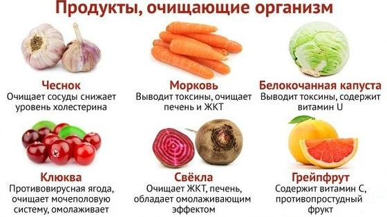 Продукты, способствующие выведению шлаков из организма