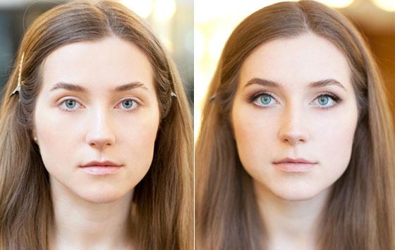 Результат увеличения глаз макияжем 2