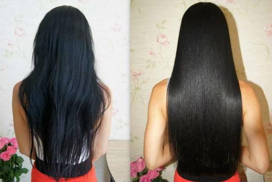 Состояние волос до и после разглаживания кератином